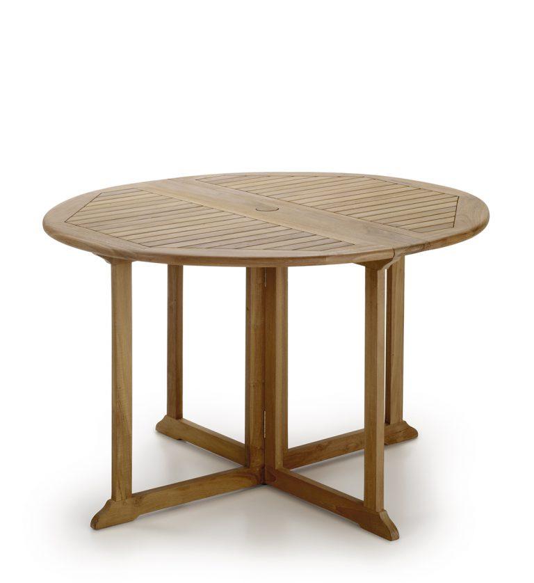 TABLE TECK JARDIN RONDE 2 RALLONGES PLIANTES Ø120*76 - MOYCOR